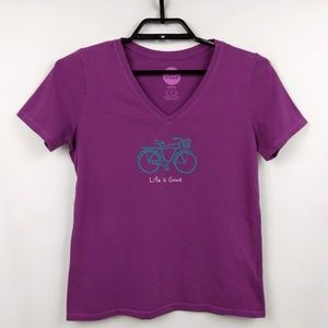 Life is good 100% Cotton T-shirt with Bicycle